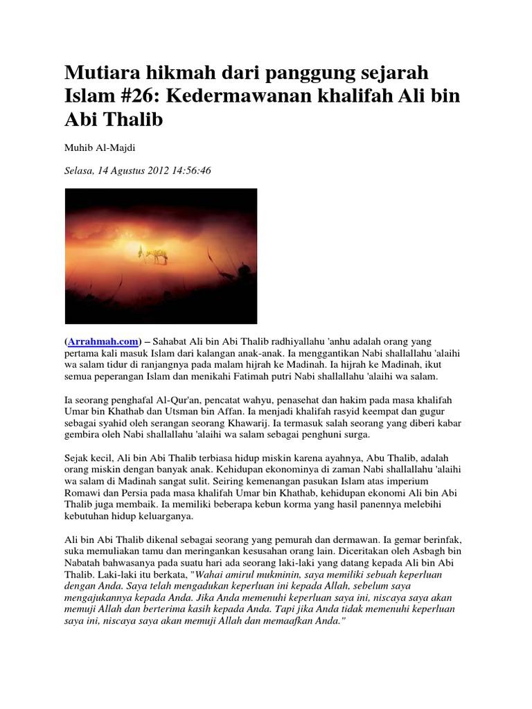 26  Kedermawanan Khalifah Ali Bin Abi Thalib