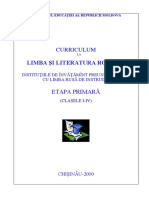 Curriculum La Limba Romana. Institutiile de Invatamant Preuniversitar Cu Limba Rusa de Instruire. Etapa Primara. Clasele I-IV