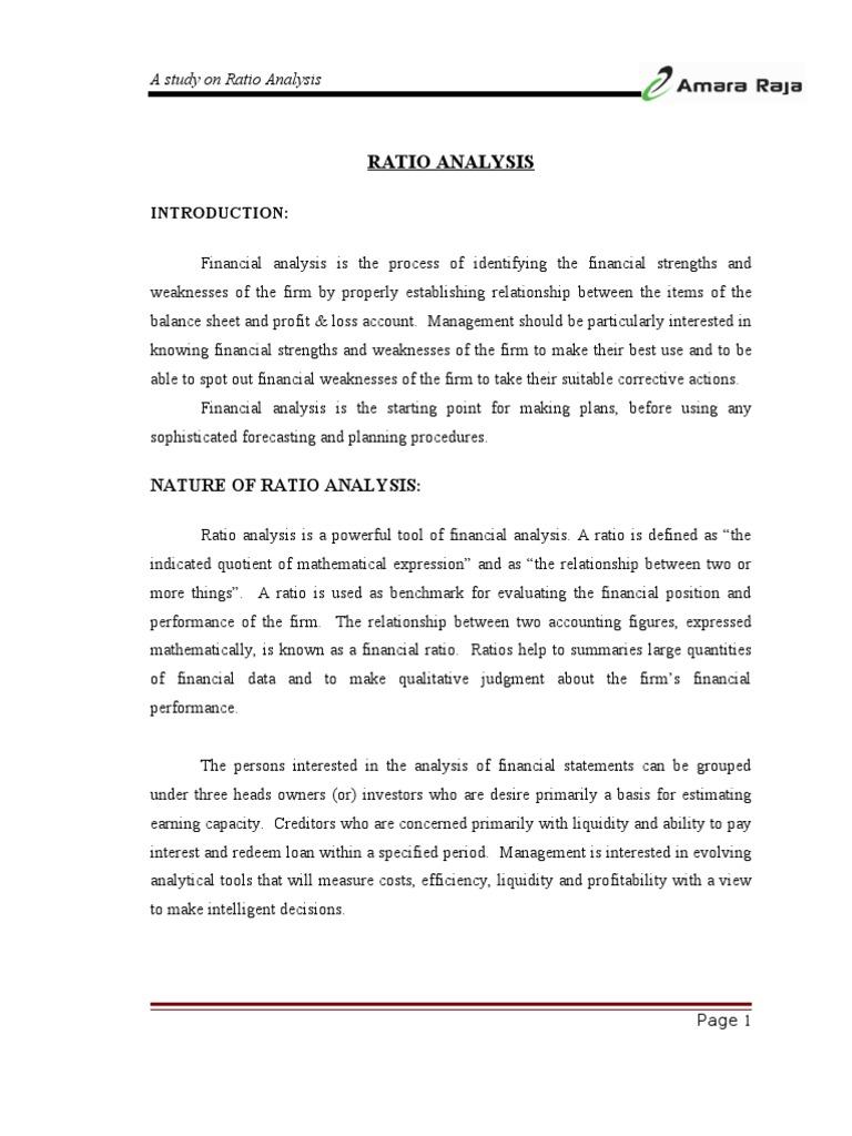 Ratio Analysis of Amararaja Batteries | Screw | Revenue