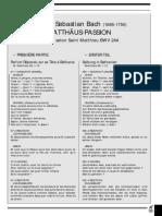 (Texte) Passion Selon St Matthieu - J.S. Bach