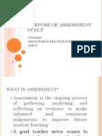 Purpose of Assessment in Elt