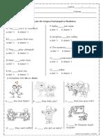 Avaliação de inglês- Simple Present.doc