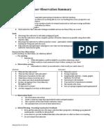 Peer Observation Summary