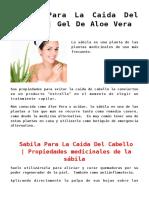 Sabila Para La Caida Del Cabello | Gel De Aloe Vera