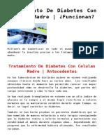 Tratamiento De Diabetes Con Celulas Madre