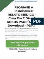➝PSORIASE é Transmissivel? RELATO MÉDICO - Cura Em 7 Dias【ADEUS PSORÍASE ▻ Download - PDF】