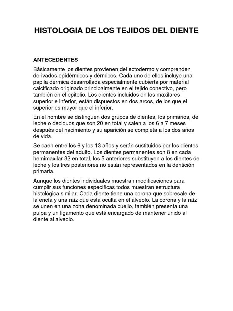 Histologia de Los Tejidos Del Diente