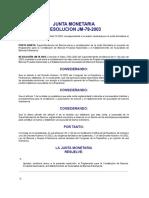 Resolución JM 78-2003