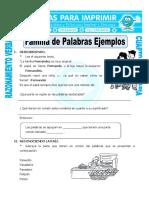 Ficha Familia de Palabras Ejemplos Para Cuarto de Primaria