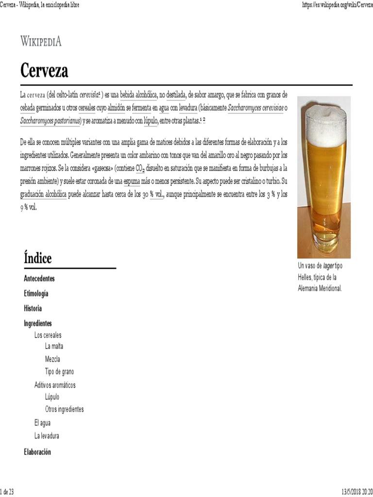0df099345 Cerveza - Wikipedia, La Enciclopedia Libre