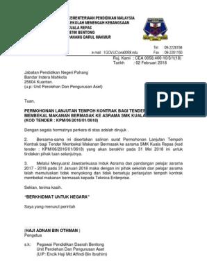 Surat Permohonan Lanjutan Tempoh Kontrak