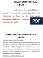Characterization of Optical Fibers