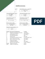 Fórmulas y Definiciones