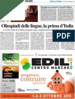 Olimpiadi delle lingue, la prima d'Italia - Il Resto del Carlino del 22 settembre 2010