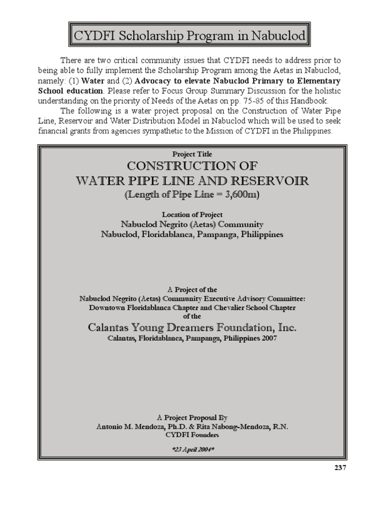 Spring Water Project Proposal in Nabuclod PDFile | Tap (Valve