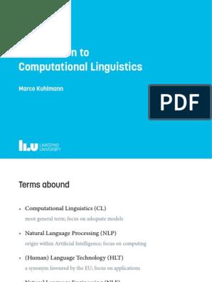 Kuhlmann - Introduction to Computational Linguistics (Slides