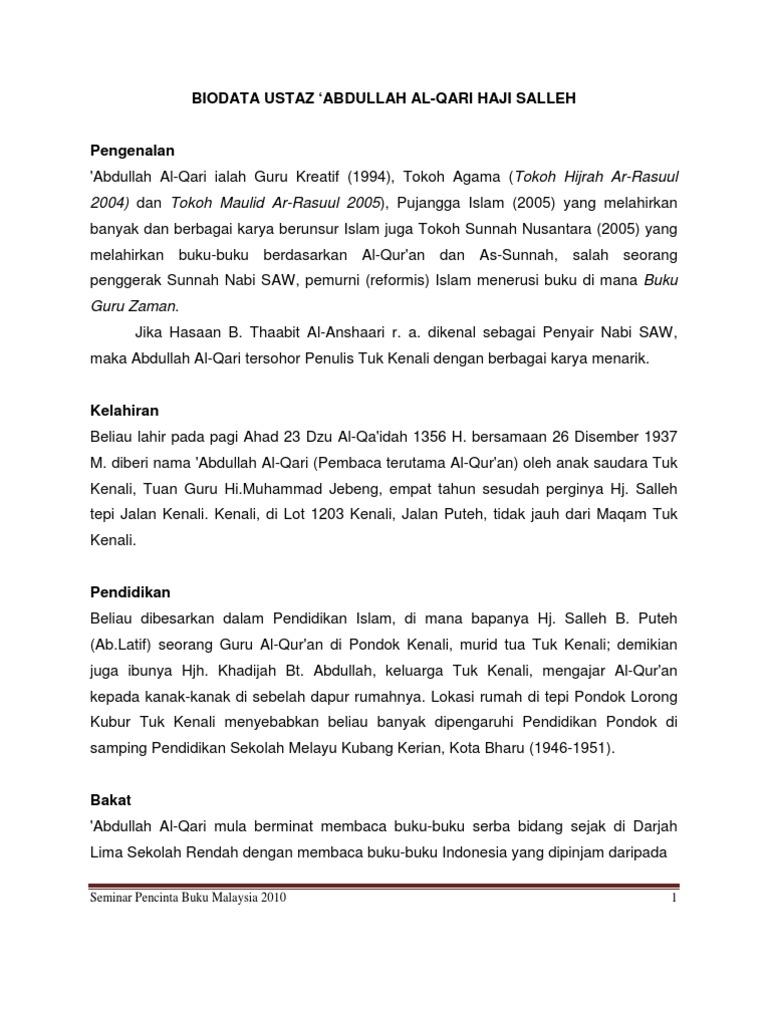 Biodata Ustaz Abdullah Al Qari