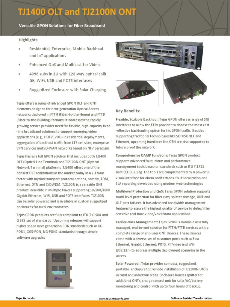 Tj1400 Olt and Tj2100n Ont   Fiber To The X   Telecommunications