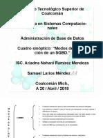 Modos de Operacion de Un SGBD. Sam Mendes