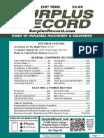 JUNE 2018 Surplus Record Machinery & Equipment Directory