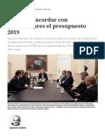 Proponen Acordar Con Gobernadores El Presupuesto 2019