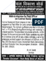 Notification Coconut Devemopemnt Board Walk in for Field Officer Posts