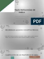 Principales Patologías de Habla Segunda Parte