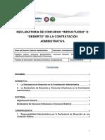 """Declaratoria de Concurso """"Infructuoso"""" o """"Desierto"""" en La Contratacion Administrativa"""
