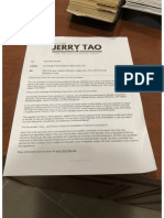 Jerry Tao Letter