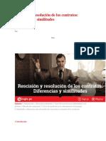 Rescisión y Resolución de Los Contratos