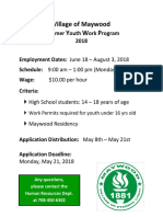 2018 Summer Youth Work Program