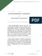 Enseignements Secretes Martines de Pasqually