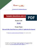 Microsoft Exam For 70-542 Microsoft Office SharePoint Server 2007 and Application Development