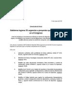 14052018 Comunicado de Prensa Urgencias Legislativas