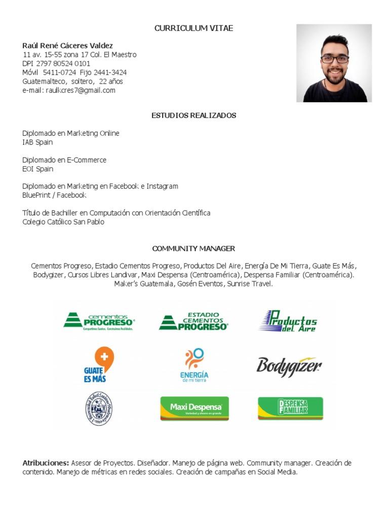 Curriculum Vitae - Raúl Cáceres