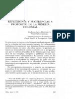 Reflexiones y Sugerencias a Proposito de La Mineria Colonial