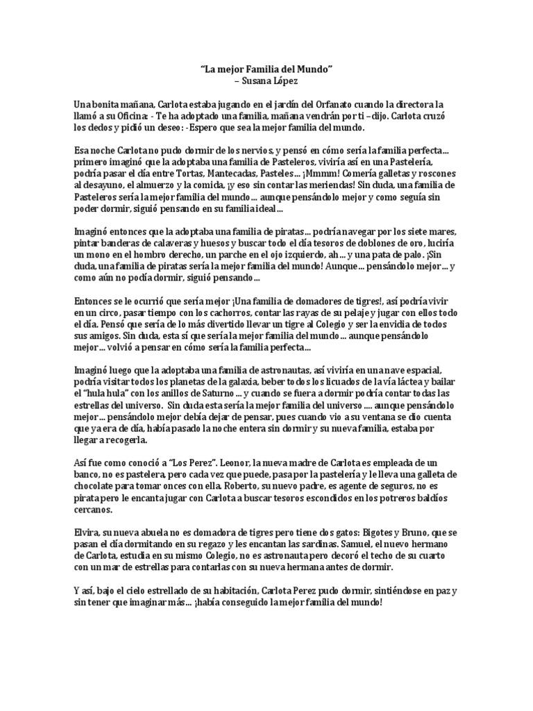 Cuento La Mejor Familia Del Mundo Susana López Naturaleza