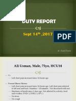 Duty Report, Ali Usman (Dr. Rudi)