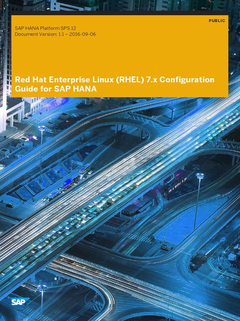 Hana Sps12 Red Hat Enterprise Linux RHEL 7 x Configuration Guide for