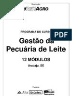 Programa do curso Gestão da Pecuária de Leite - Aracaju/SE