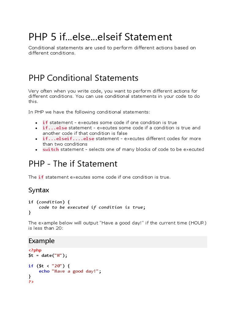 Php Statements | Control Flow | Php
