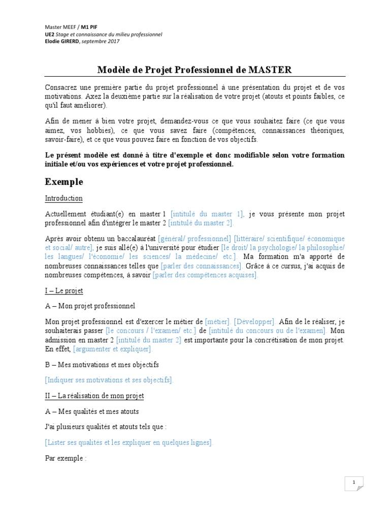 Modele Projet Professionnel Pdf Connaissances Concept De Psychologie