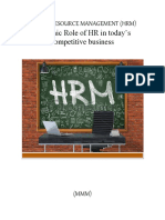 Dynamic role of HR in an org