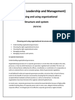 Choosing and Using Organizational Structure and System