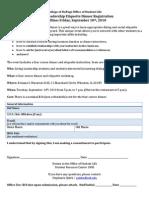 Living Leadership Program Etiquette Dinner Registration 2010
