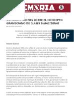 Consideraciones Sobre El Concepto Gramsciano de Clases Subalternas – Memoria