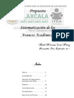 Sistematizacion de Los Avances Academicos 2012