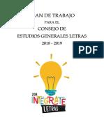 Plan de Trabajo Consejo de Letras 2018 Intégrate PUCP