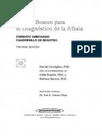 Cuadernillo de Registro Del Test de Boston Para El Diagnóstico de La Afasia