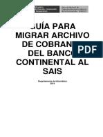 Guía Para Migrar Archivo de Cobranza Del Banco Continental Al Sais v2